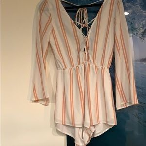 Pink and white romper ONLY WORN ONCE